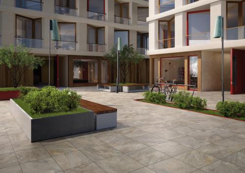 Terrassenplatten Villeroy & Boch My Earth 2802 RU60 grau multicolor 60x60x2 cm Outdoor Schieferoptik matt