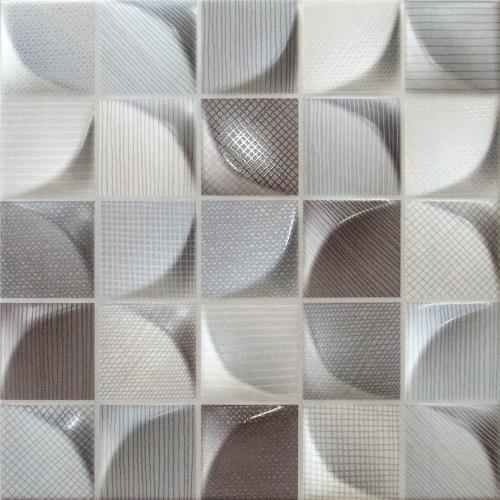 Dune Ceramics 3D Tissu Dark Wandfliese blau-mix matt 25x25 cm