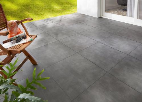 Terrassenplatten Sonderposten Streetline Outdoor graphit 60x60x2 cm Betonoptik matt
