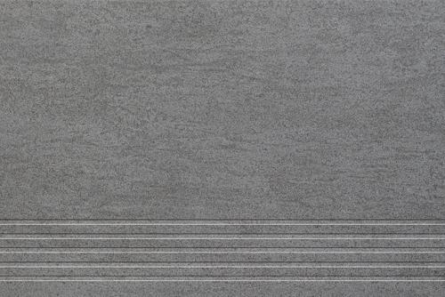 Agrob Buchtal Geo 2.0 Treppenfliese rilliert anthrazit matt 30x60 cm