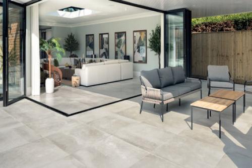 Terrassenplatten Sonderposten Hemisphere Outdoor steel 60x60x2 cm Zementoptik matt R11