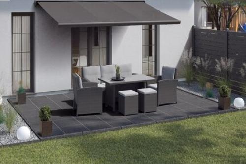 Terrassenplatten Sonderposten Manhattan Outdoor schwarz 60x90x2 cm Schieferoptik matt R10