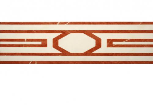 Villeroy & Boch New Tradition Bordüre crema-rosso glänzend 15x30 cm