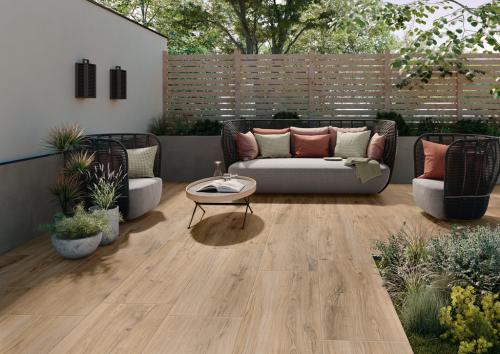 Terrassenplatte Villeroy & Boch Oak Line Outdoor caramel 40x120x2 cm Holzoptik matt 2896 WZ20