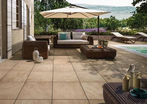 Terrassenplatten Villeroy & Boch My Earth beige multicolour 60x60x2 cm Outdoor Schieferoptik matt