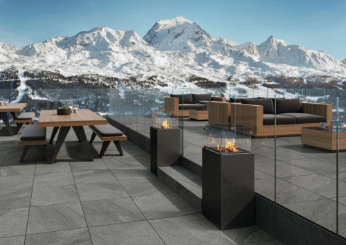 Terrassenplatte Villeroy & Boch Mont Blanc Outdoor Granitoptik titan 40x80x2 cm 2847 GS60 matt R11/B