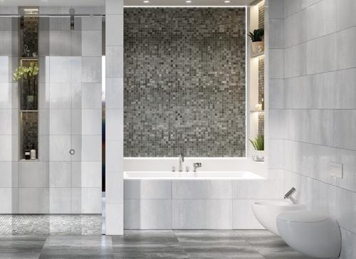 Metropol Arc Muro Mosaik Metalloptik GUY0K00A Acero matt 26x58 cm