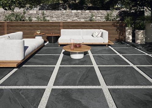 Terrassenplatten Sonderposten Annapurna Outdoor negro 80x80x2 cm Schieferoptik matt