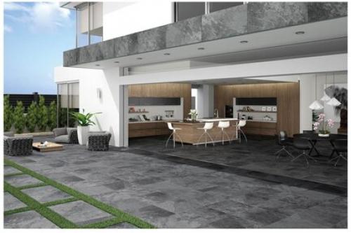 Terrassenplatten Sonderposten Annapurna Outdoor anthrazit 80x80x2 cm Schieferoptik matt R11/B
