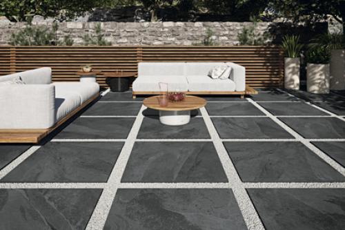 Terrassenplatten Sonderposten Annapurna Outdoor negro 80x80x2 cm Schieferoptik matt R11/C