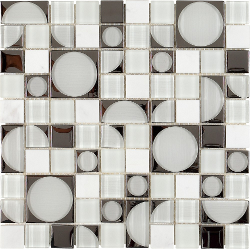 Dune Aquarius Glas-Mosaik schwarz-weiß 30x30 cm.
