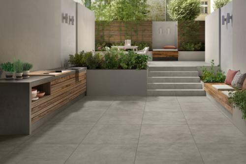 Terrassenplatten Villeroy & Boch Memphis Outdoor 2824 MT70 warm grey 120x120x2 cm Betonoptik matt
