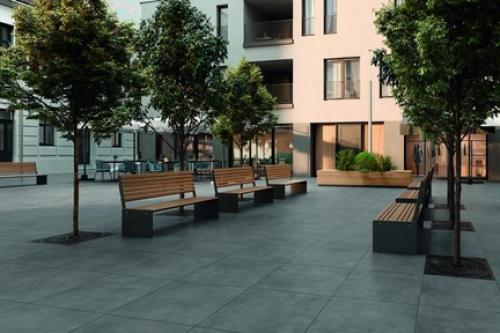 Terrassenplatten Villeroy & Boch Memphis Outdoor 2824 MT60 dark grey 120x120x2 cm Betonoptik matt