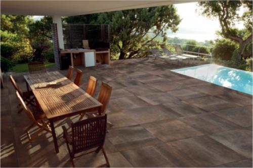 Terrassenplatten Sonderposten Hemisphere Outdoor copper 60x60x2 cm Steinoptik matt