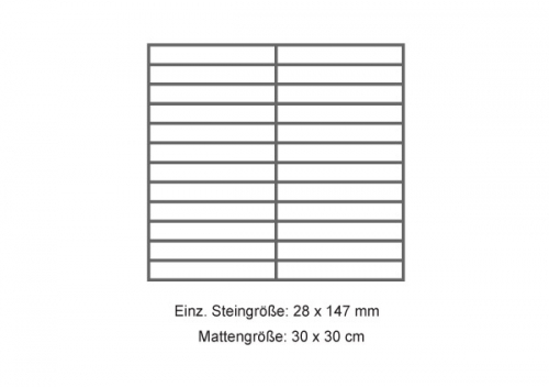 Steuler Mosaik 3x15 cm Beton grau 30x30 cm