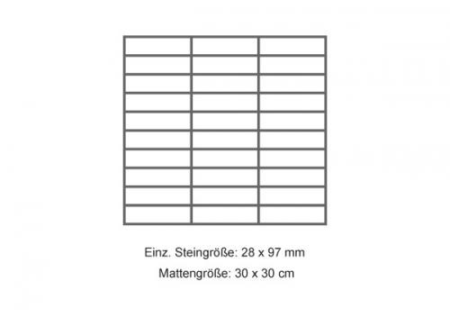 Steuler Mosaik 3x10 cm Stone Collection - Dorato grau 30x30 cm