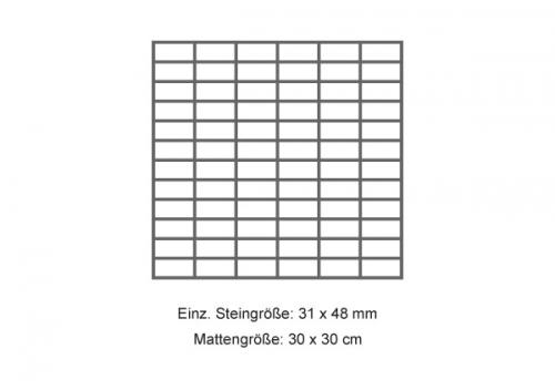 RAK Ceramics Gems/ Lounge Mosaik anthracite matt 30x30 cm, Steingröße 3x6 cm