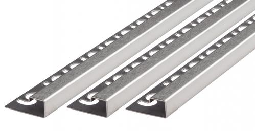 Fliesenschiene V2A Edelstahl in verschiedenen Profilen-Quadratprofil-gebürstet-11,0mm x 250cm