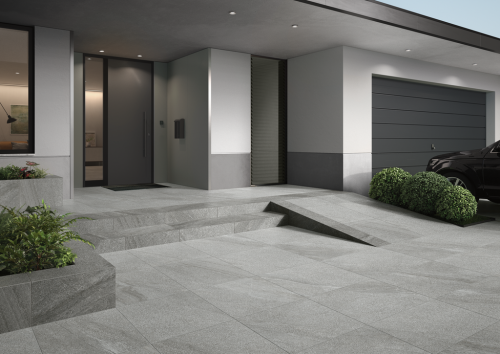 Terrassenplatte Villeroy & Boch Mont Blanc Outdoor Granitoptik silver 80x80x2 cm 2889 GS06 matt R11/B