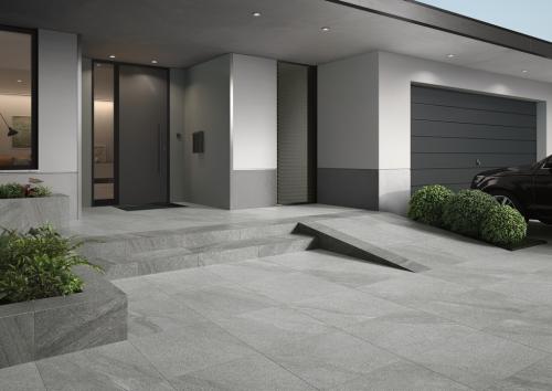 Terrassenplatte Villeroy & Boch Mont Blanc Outdoor Granitoptik silver 60x120x2 cm 2861 GS06 matt R11/B