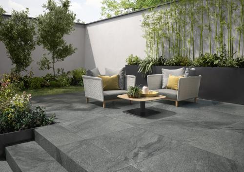 Terrassenplatte Villeroy & Boch Mont Blanc Outdoor Granitoptik carbon 80x80x2 cm 2889 GS90 matt R11/B