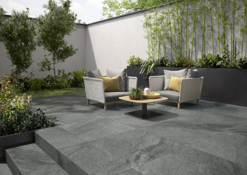 Terrassenplatte Villeroy & Boch Mont Blanc Outdoor Granitoptik carbon 40x80x2 cm 2847 GS90 matt R11/B
