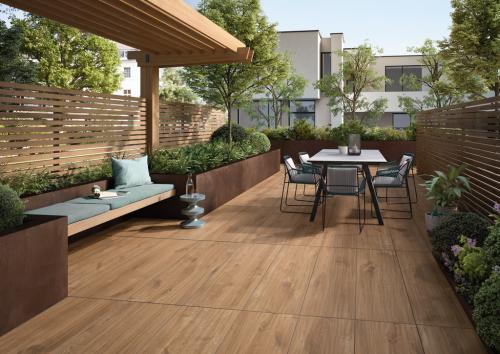 Terrassenplatten Villeroy & Boch Oak Park brandy 40x120x2 cm Outdoor Holzoptik matt