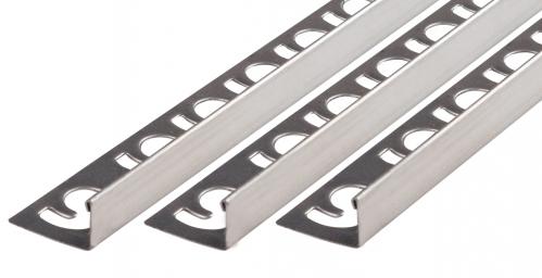 Fliesenschiene V2A Edelstahl in verschiedenen Profilen-gebürstet-Winkelprofil-10,0x3000,0mm