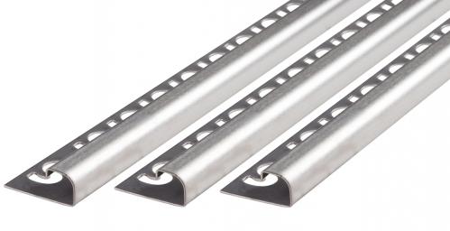 Fliesenschiene V2A Edelstahl in verschiedenen Profilen-gebürstet-Rundprofil-8,0x3000,0mm