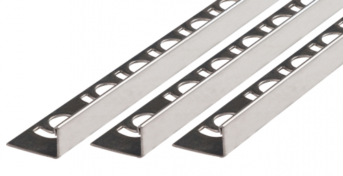 Fliesenschiene V2A Edelstahl in verschiedenen Profilen-poliert-Winkelprofil-10,0x3000,0mm