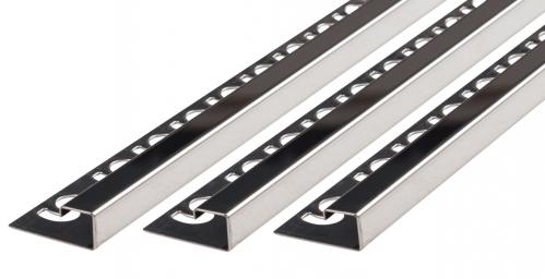 Quadratprofil V2A Edelstahl glänzend Höhe: 9,0 mm / Länge: 250,0 cm