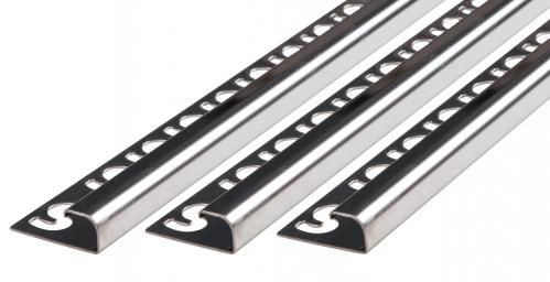 Fliesenschiene V2A Edelstahl in verschiedenen Profilen-poliert-Rundprofil-10,0x2500,0mm