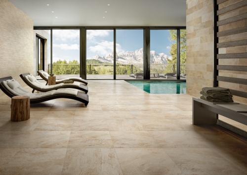 Terrassenplatten Villeroy & Boch My Earth 2802RU10 hellbeige 60x60x2 cm Outdoor Schieferoptik matt