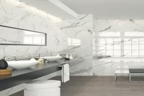 Wandfliesen Sonderposten Ritual weiß grau glänzend 30x90 cm kalibriert