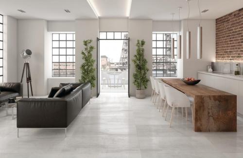 Bodenfliesen Tau Corten white 60x60 cm Metall- Betonoptik matt