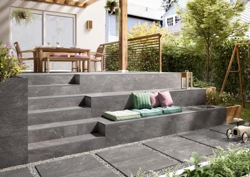 Terrassenplatten Villeroy & Boch My Earth anthrazit multicolour 80x80x2 cm Outdoor Schieferoptik matt