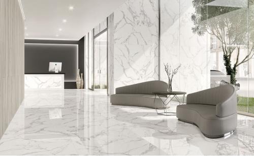 Bodenfliesen Tau Torano statuario-weiß 90x90 cm Marmoroptik poliert