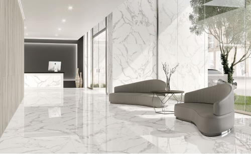 Bodenfliesen Tau Torano statuario-weiß 60x60 cm Marmoroptik matt