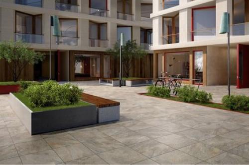 Terrassenplatten Villeroy & Boch My Earth grau multicolour 80x80x2 cm Outdoor Schieferoptik matt MS.